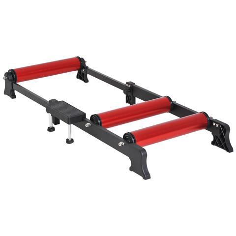 Rullo Bici Allenamento Lunghezza Regolabile Nero E Rosso 54x14.5x93-145cm