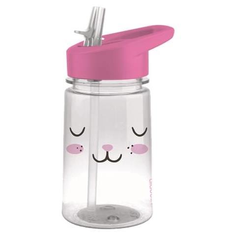 Borraccia Flip & Sip Zoo Bunny, Per Bambini, Trasparente, rosa, L 0,35