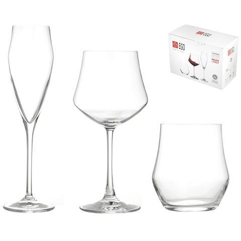 Set 18 Pezzi Vetro Ego (6 Bicchieri 12 Calici)