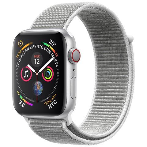 Watch Series 4 40mm GPS + Cellular in alluminio color argento con Sport Loop color conchiglia