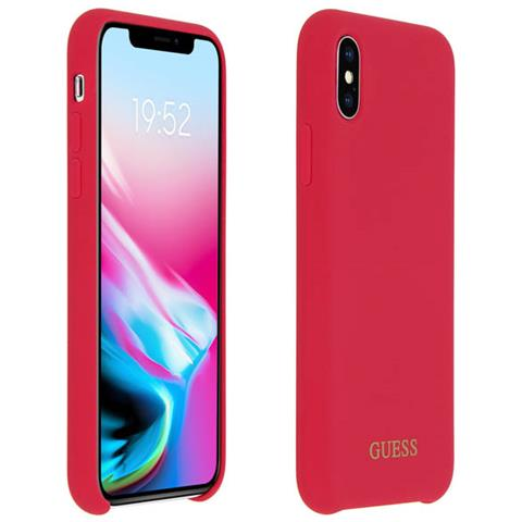 Cover Iphone Xs / X Silicone Soft-touch Guess Effetto Velluto - Rosso