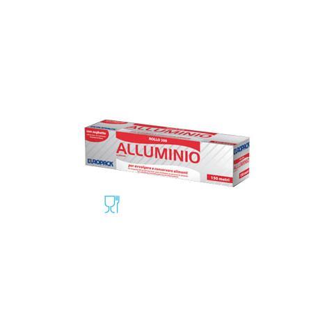 EUROPACK Roll in Alluminio 300 mm x 150 mt in Astuccio con Seghetto