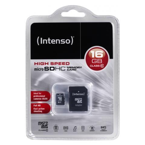 Intenso 16GB MicroSDHC, 16 GB, Micro Secure Digital High-Capacity (MicroSDHC) , 20 MB / s, Nero, 1,1 cm, 1,5 cm