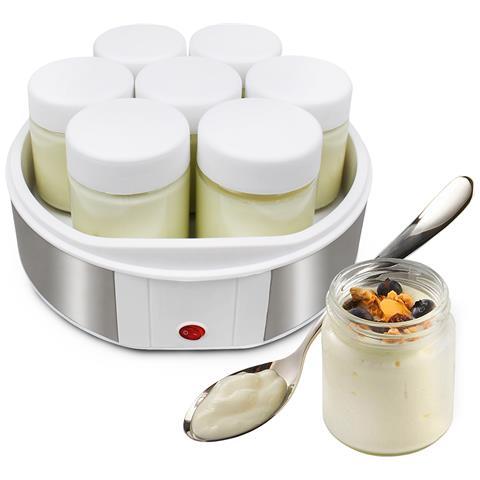 Yogurtiera, Macchina Per Yogurt, 7 Vasetti, 23 X 23 X 12 Cm, Bianco, Capacitìê Barattolo: 0,21 L
