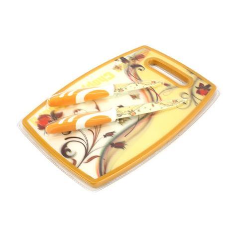 Set Tagliere 2 Coltelli Decorati Ceramica