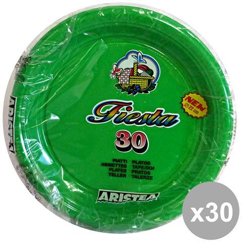 Aristea Set 30 Piatti Colorato Piani 30 Pezzi Verde Art. 165205 Piatti