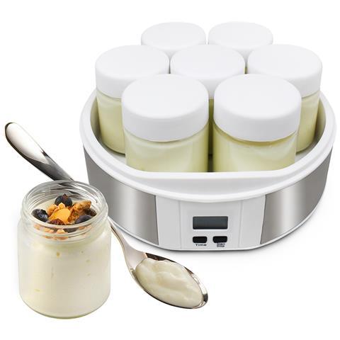 Yogurtiera, Macchina Per Yogurt, 7 Vasetti, Con Timer, 23 X 23 X 12 Cm, Bianco, Capacitìê Barattolo: 0,21 L