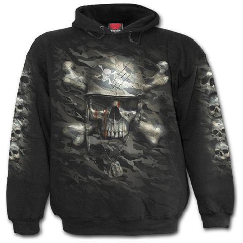 SPIRAL Camo-Skull Black (Felpa Con Cappuccio Unisex Tg. M)