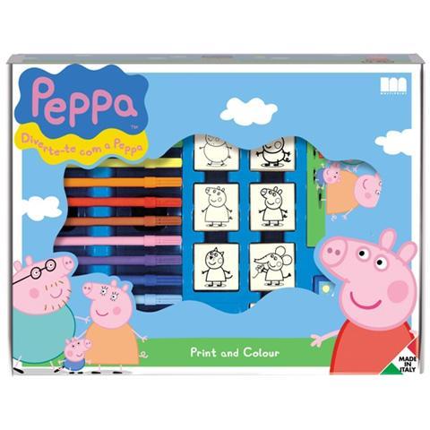 MULTIPRINT Valigiotto 7 Timbri + 12 Pennarelli Peppa Pig 4875