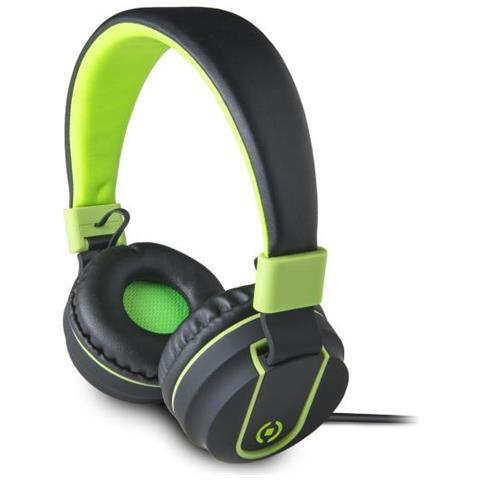 CELLY Cuffie con Microfono Connessione Cavo Colore Nero e Verde