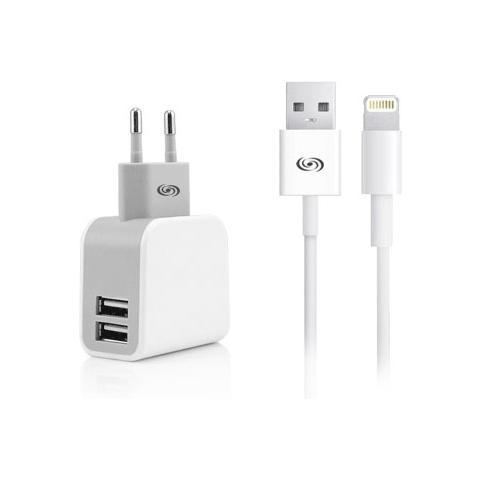 FONEX Kit Carica da Rete 2USB 2.1A con Cavo Dati per Apple Lightning Colore Bianco
