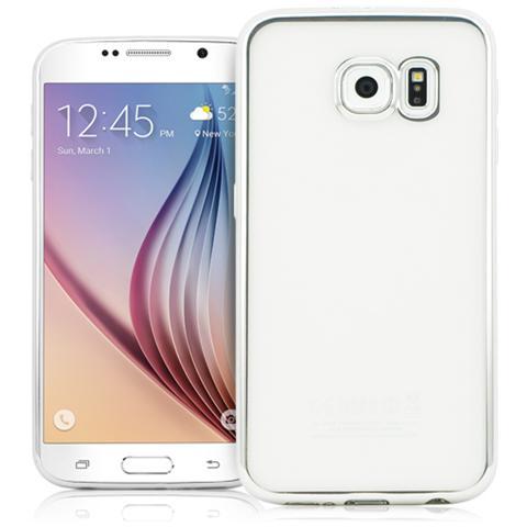 FONEX Sparkling Cover in Morbido TPU con Bordi ad Effetto Metalizzato per Galaxy S6 Colore Trasparente / Argento