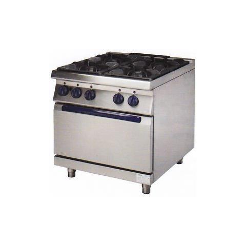 Cucina Professionale A Gas 4 Fuochi Su Mobile Cm 80x90x85 Rs0752