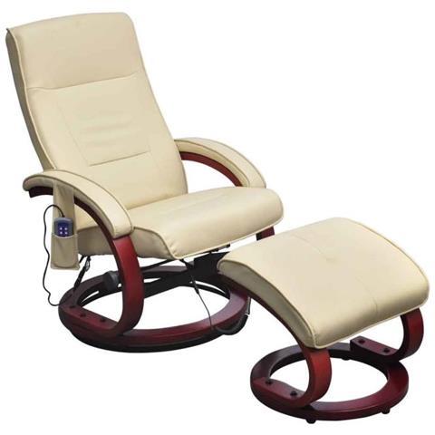 vidaXL Poltrona Relax Massaggiante Crema Con Poggiapiedi