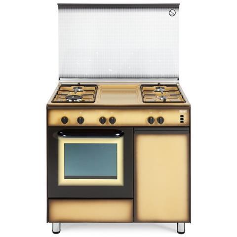 Cucina Elettrica DGK964B 4 Fuochi a Gas Forno Elettrico Classe A 90 x 60 cm Colore Marrone