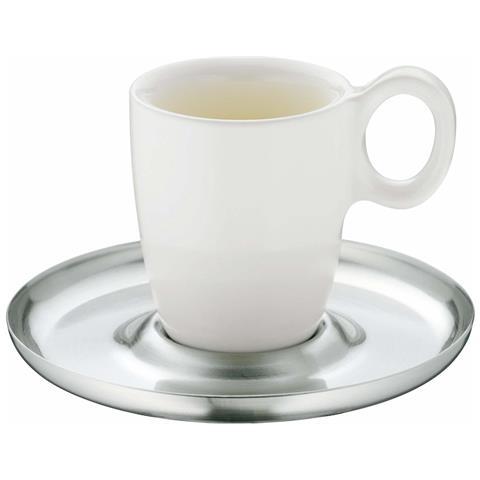 Set 6 Tazzine Da Caffè Porcellana Con Piattino Acciaio Inox