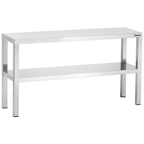 325120 Tavolo da lavoro doppia mensola in inox 1200x350x400 mm