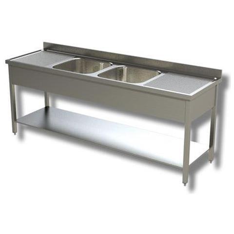 Lavello 200x60x85 Acciaio Inox 430 Su Gambe Ripiano Cucina Ristorante Rs4709