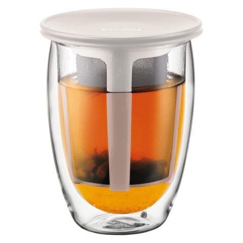 Bicchiere Doppio vetro per Infuso Tè 0.35 l Colore Bianco