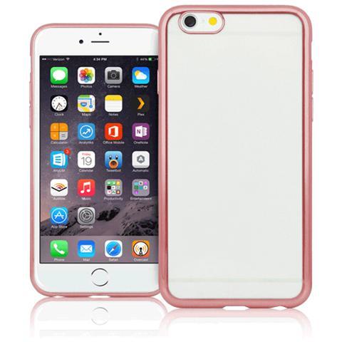 FONEX Sparkling Cover in Morbido TPU con Bordi ad Effetto Metalizzato per iPhone 5/5S / SE Colore Trasparente / Oro Rosa
