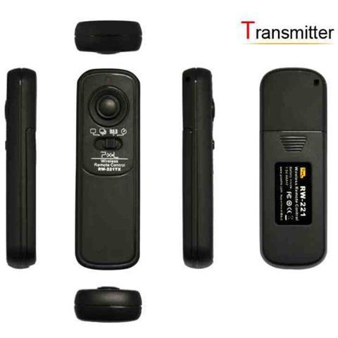 Pixel RW-221 / S1, RF Wireless, Nero, Fotocamera, Pulsanti, 100m, AAA