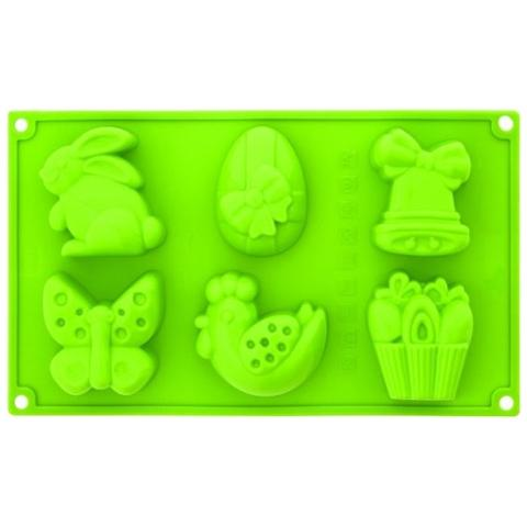 Stampo In Silicone Multiporzione Pasqua 6 Impronte