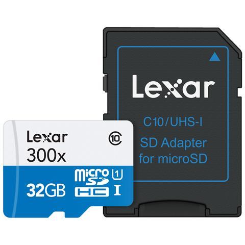 LEXAR MicroSDHC da 32 GB Classe 10 + Adattatore SD