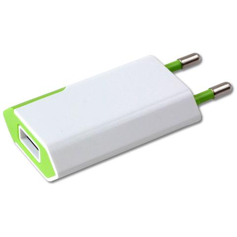 TECHLY IPW-USB-ECWG - Caricatore USB 1A Compatto Spina Europea Bianco / Verde