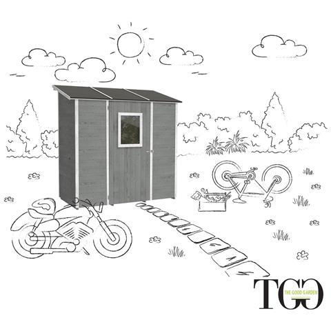 Casetta In Legno Garage Per Attrezzi Wonder Addossato Grigio 102 X 207 Cm
