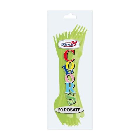 Dopla Forchette Di Plastica Verde Acido