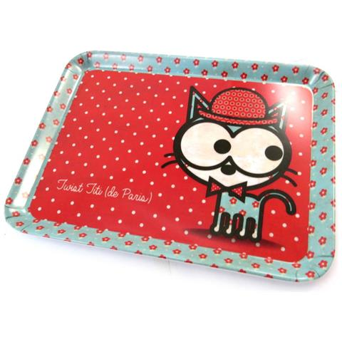 piccolo vassoio 'chien et chat lolita' red cat (24x18 cm) - [ n5508]