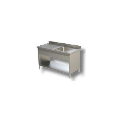 Lavello 130x70x85 Acciaio Inox 430 Su Fianchi Ripiano Cucina Ristorante Rs4828