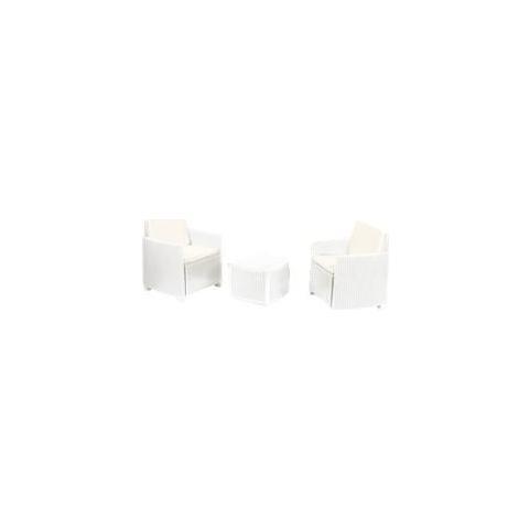 Set da Giardino con Tavolino e 2 Poltrone Bianco Con Cuscino- Modello Trinacria