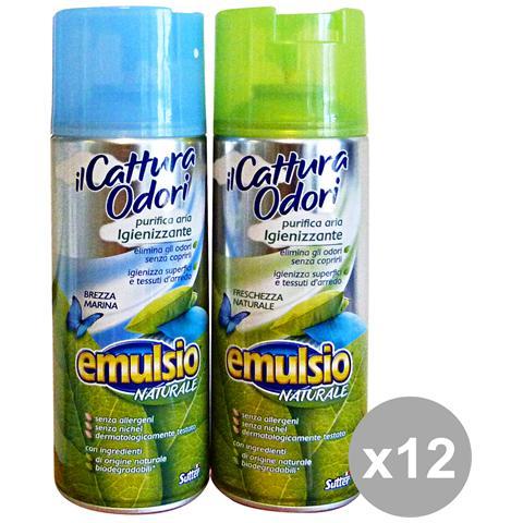 Emulsio Set 12 Cattura Odori Spray Igienizzanti 400 Ml. Deodorante Con Mista Candele E Profumator
