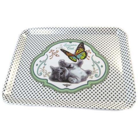 piccolo vassoio 'un amour d'animaux' cat verde - 24x18 cm - [ p0990]