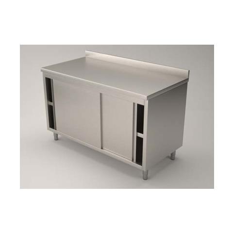 Tavolo 100x70x85 Acciaio Inox 304 Armadiato Alzatina Ristorante Pizzeria Rs5442