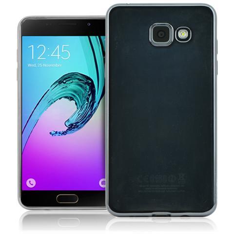 FONEX Sparkling Cover in Morbido TPU con Bordi ad Effetto Metalizzato per Galaxy A3 (6) Colore Trasparente / Nero