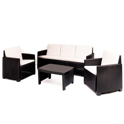 Set da Giardino con 1 Divano 1 Tavolino e 2 Poltrone con cuscino Moka - Modello Stromboli