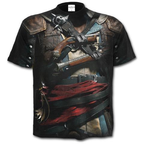 SPIRAL Assassins Creed Iv Black Flag - Allover Licensed Black (T-Shirt Unisex Tg. 2XL)