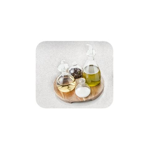 Menage set 4 pezzi Vetro con Vassoio Acacia