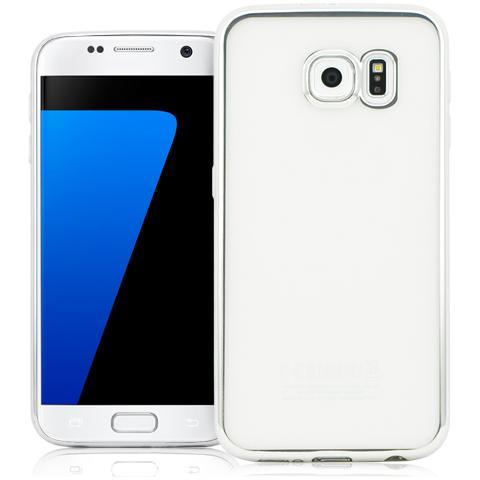 FONEX Sparkling Cover in Morbido TPU con Bordi ad Effetto Metalizzato per Galaxy S7 Edge Colore Trasparente / Argento
