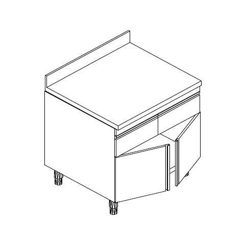 Tavolo 60x70x90 Acciaio Inox 430 Armadiato Alzatina Cassetti Ristorante Rs6651