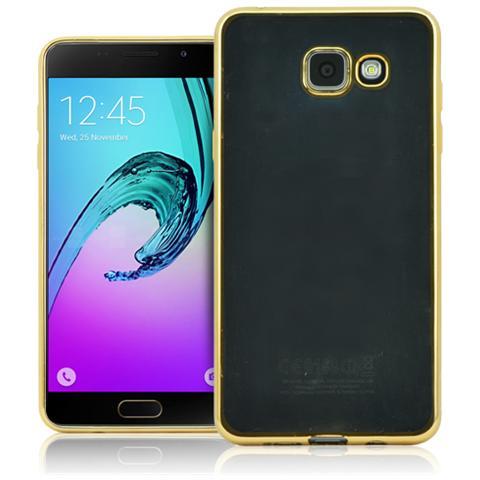 FONEX Sparkling Cover in Morbido TPU con Bordi ad Effetto Metalizzato per Galaxy A3 (6) Colore Trasparente / Oro
