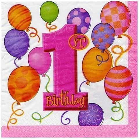Ballon Express Unique Tovaglioli Rosa Con Numero 1 E Palloncini Per Primo Compleanno Bambina