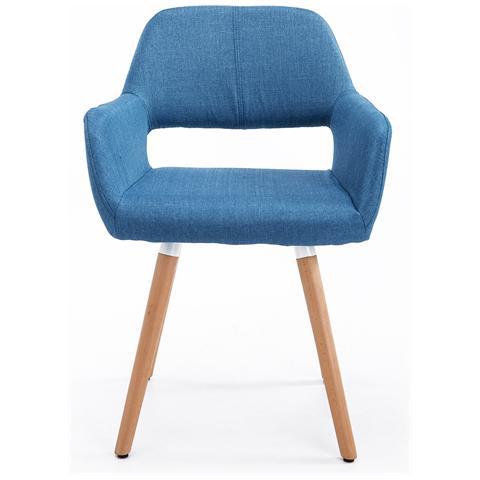 homcom Sedia Poltroncina Lounge In Legno Di Faggio, Blu, 56x56x79cm