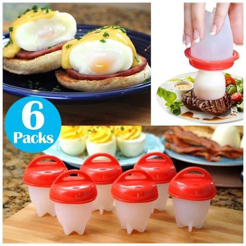 6 Pezzi Silicone Boiler Uova Bollite Per Cottura Uova Egglettes