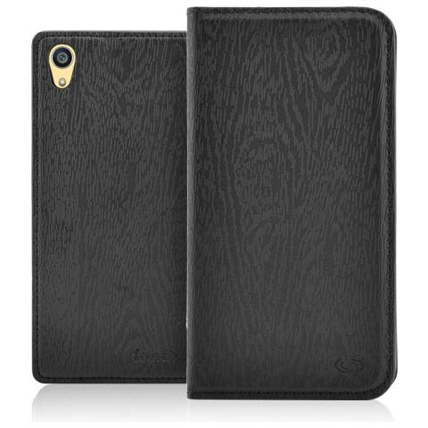 FONEX Classic Book Custodia a Libro In Ecopelle per Sony Xperia Z5 Premium Colore Nero