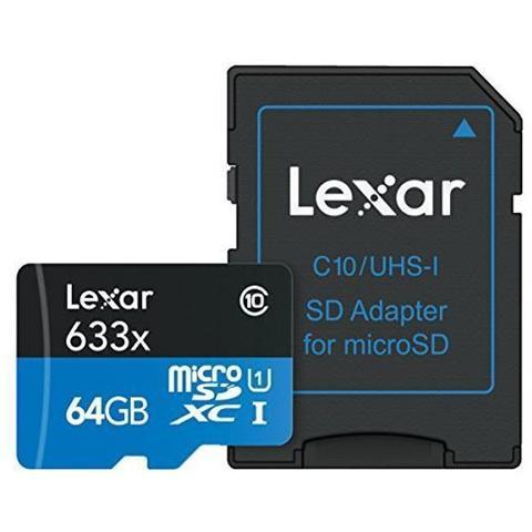 LEXAR MicroSD da 64 GB Classe 10 + Adattatore