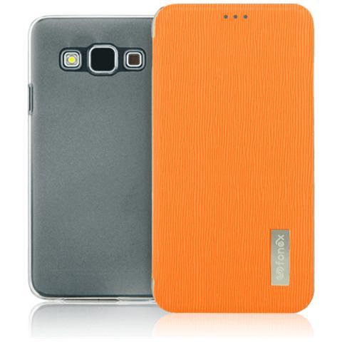 FONEX Crystal Slim Custodia a Libro con Back Trasparente per Galaxy A5 (6) Colore Arancio
