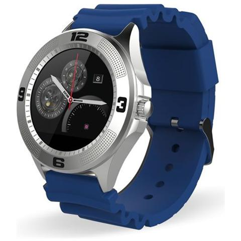 "Techmade Smartwatch TechWatchONE Round Display 1.22"" Bluetooth con Conturino in Gomma Blu – Europa"